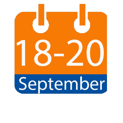 orange and blue calendar icon with white writing to show the date of 18-20 September
