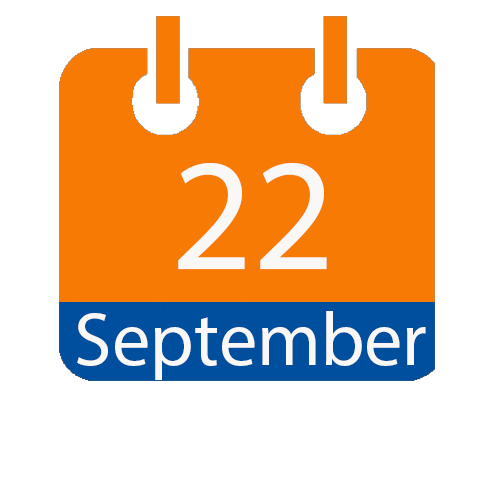 Blue and Orange calendar icon with date of September 22