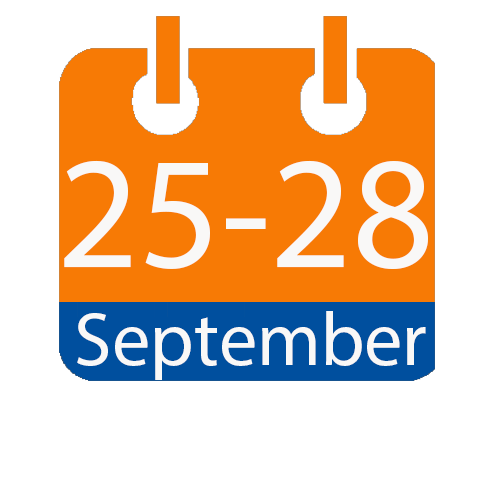 orange and blue calendar icon with white writing to show the date of 25-28 September
