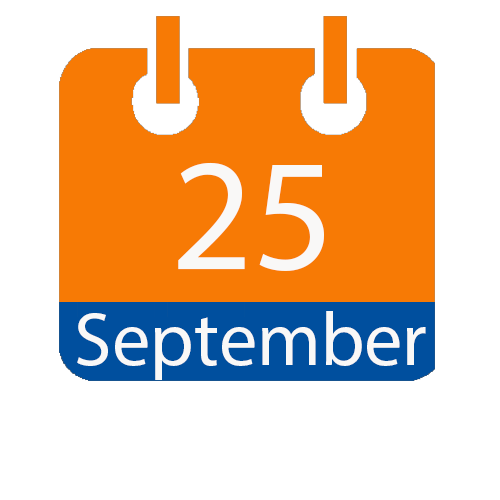 Blue and Orange calendar icon with date of September 25