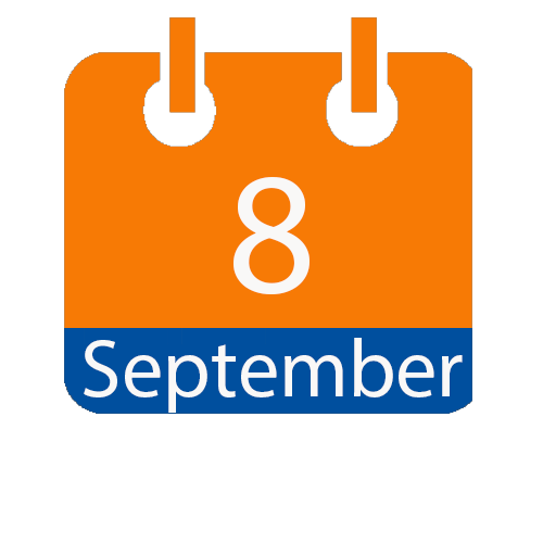 Blue and Orange calendar icon with date of September 8