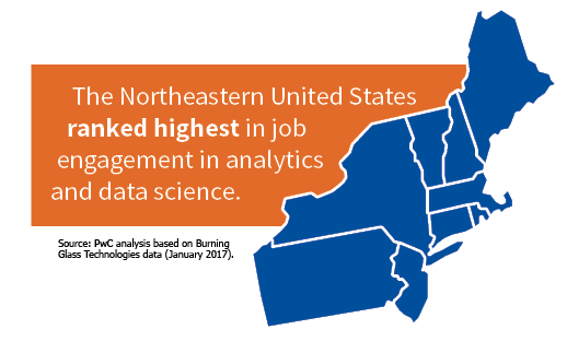 map of New England states in blue with an orange box to the left stating The Northeastern US ranked highest in job engagement in analytics & Data Science