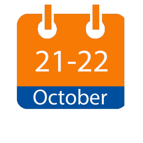blue and orange calendar page with the dates of October 21 through 22