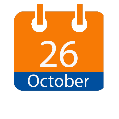 orange and blue calendar page icon with the date of October 26.