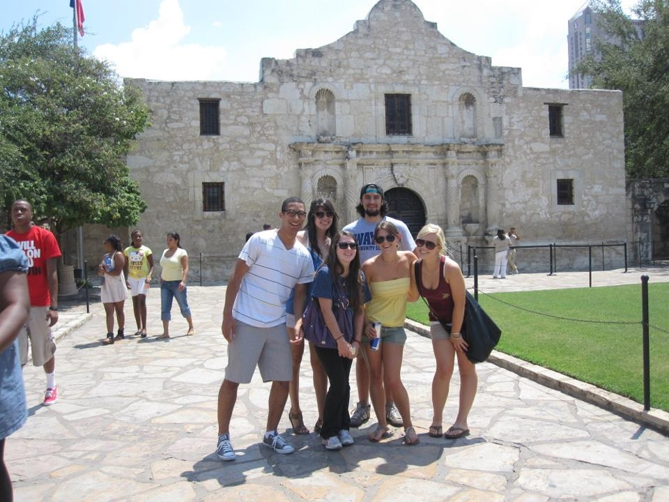 Students touring the Alamo in Texas