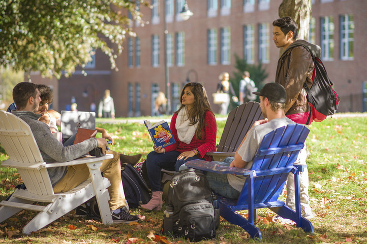 students outside on UNH campus