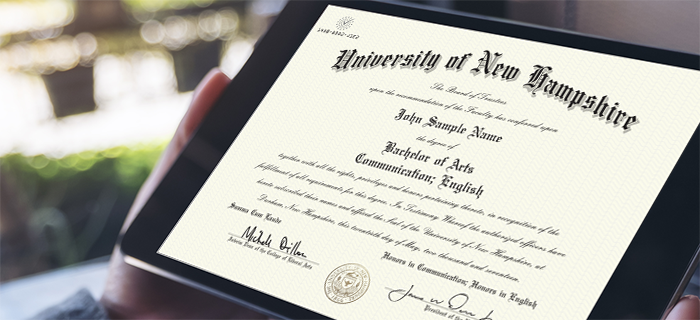 Image of an electronic diploma on a tablet.