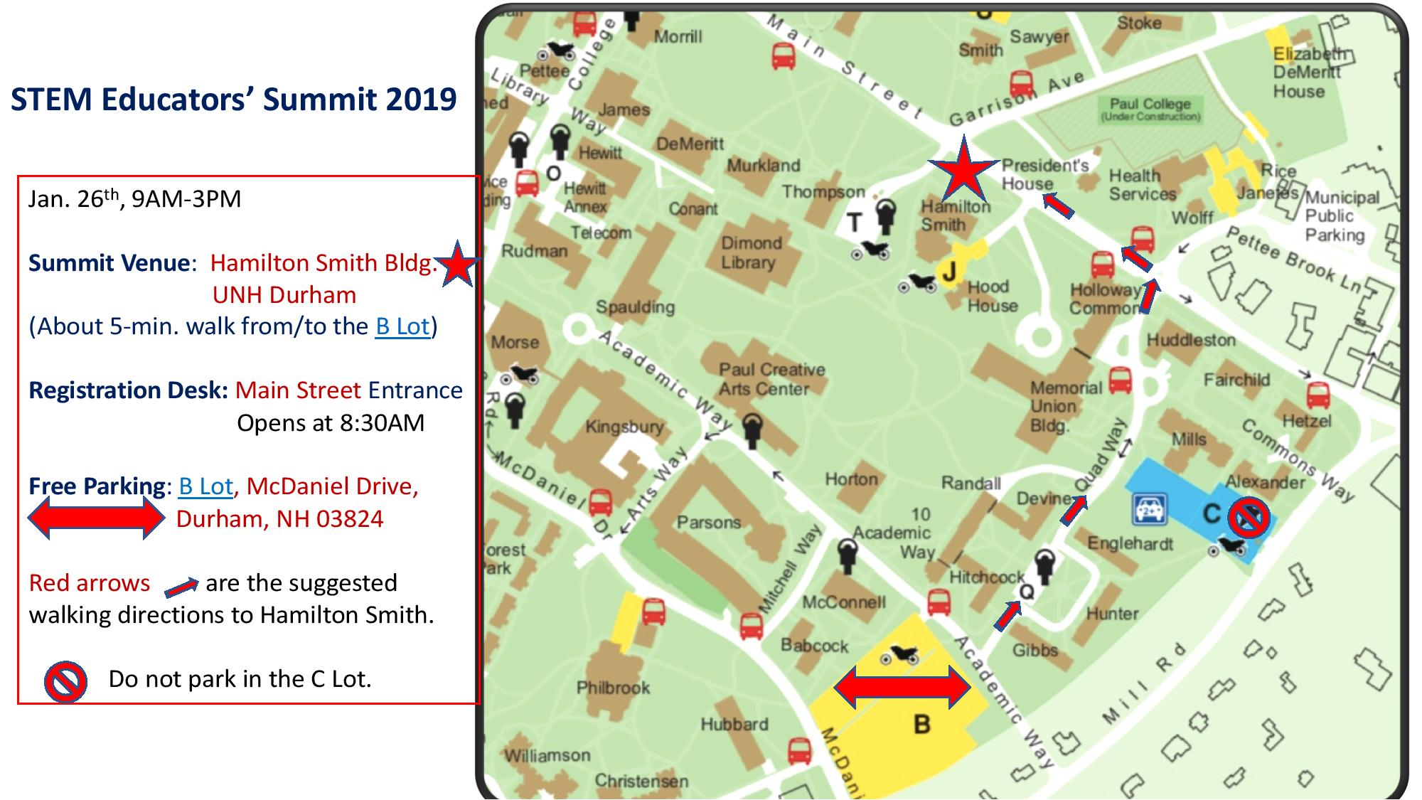 Campus map with B-lot and Hamilton Smith marked and a walking path marked between the two