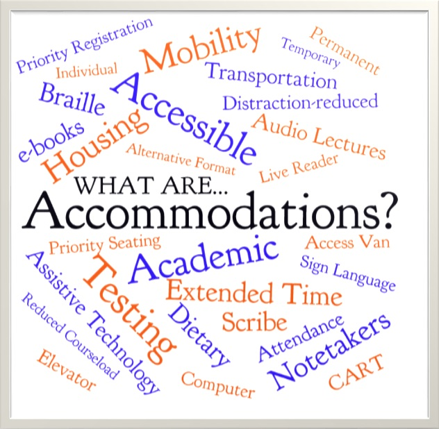What are accommodations? Word cloud