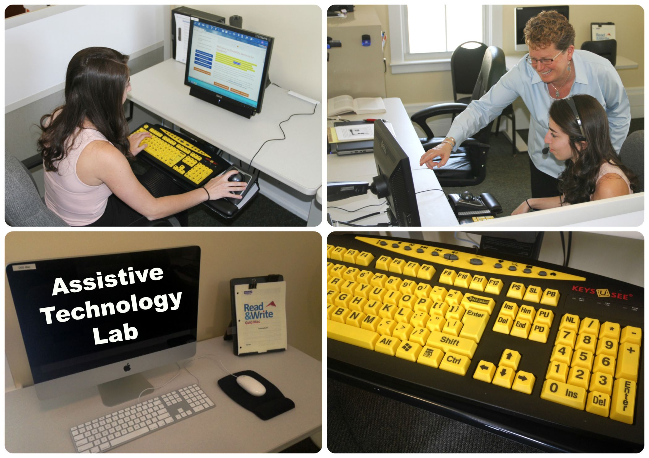 Assistive technology lab with examples of equipment