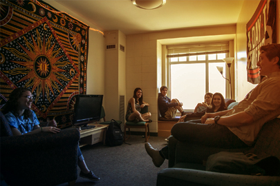 Students lounging in a dorm