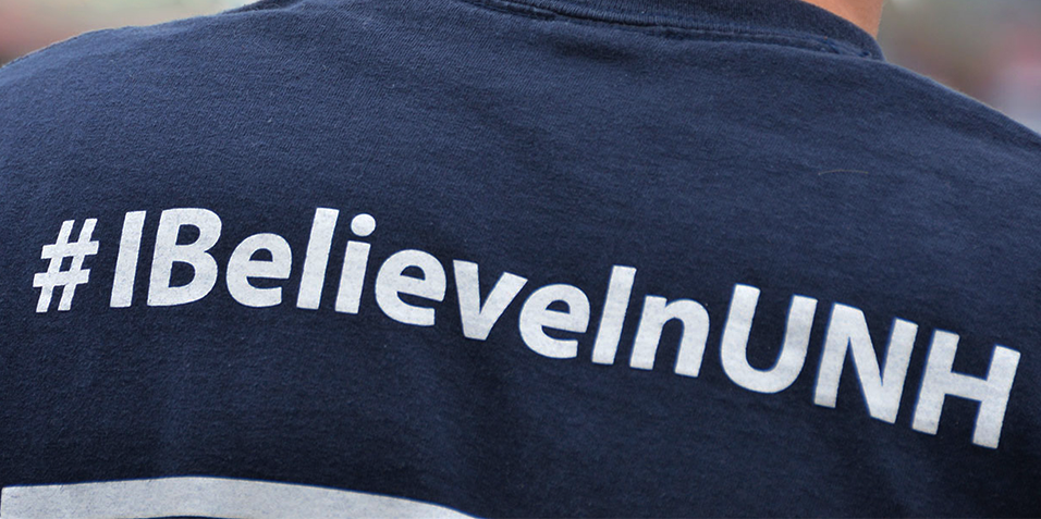 unh t-shirt with #ibelieveinUNH hashtag