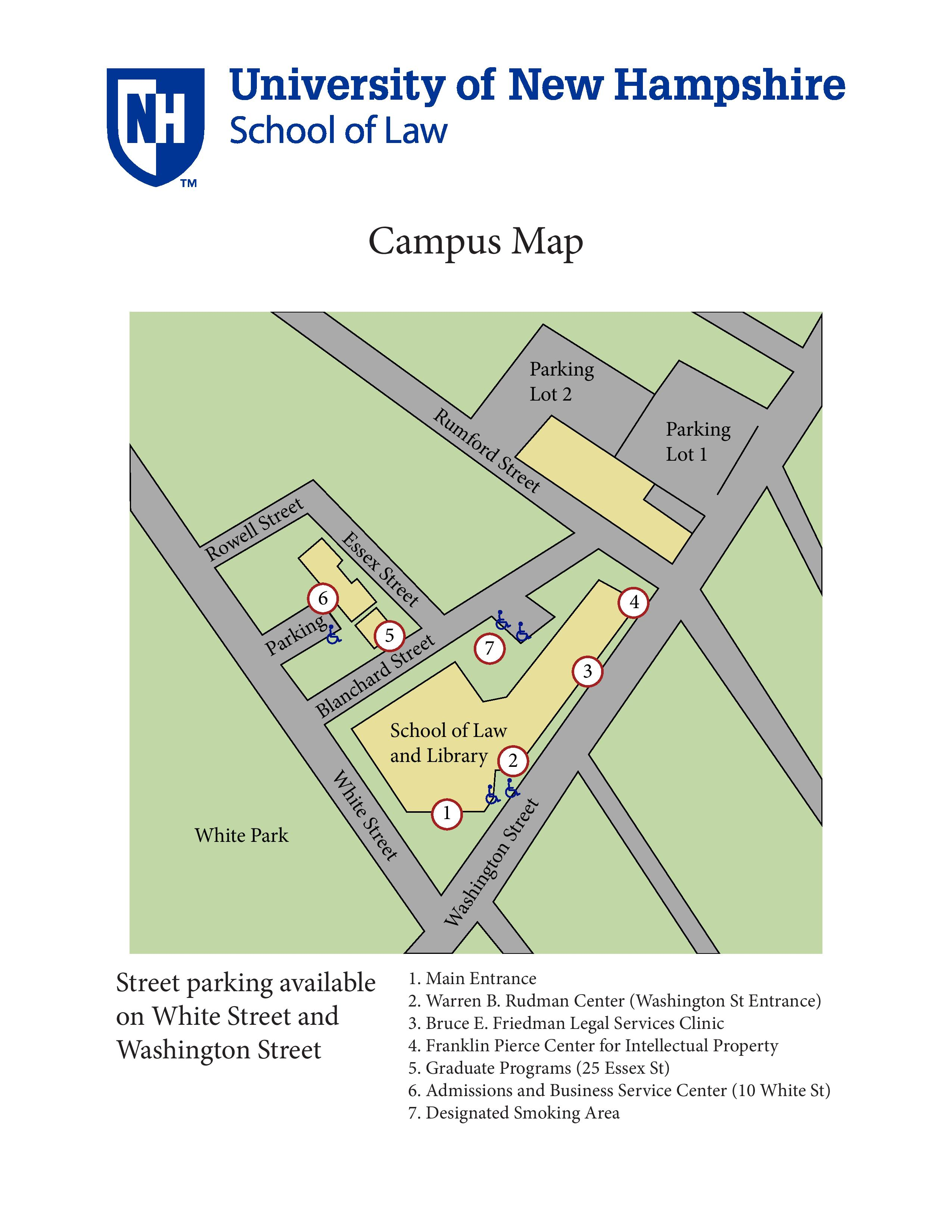 Campus map of UNH School of Law