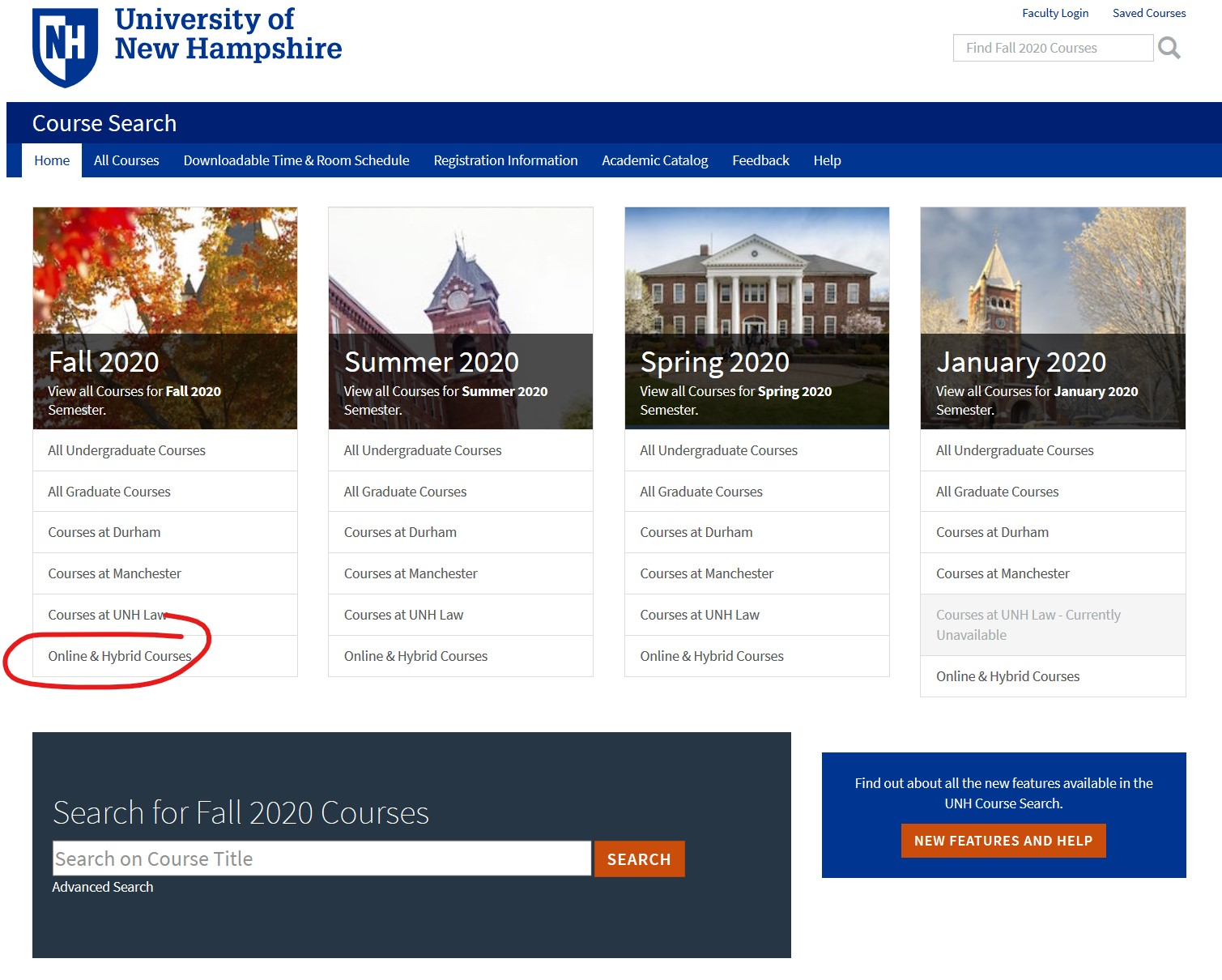 Course Search link for online and hybrid course list.