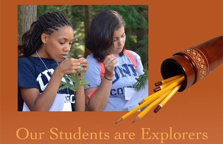 Collage of two students in outdoor classroom on organge background with text, Our Students are Explorers