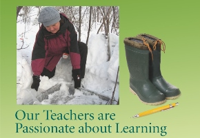 collage of person working outdoors in snow on green background with text,  Our Teachers are Passionate about Learning.