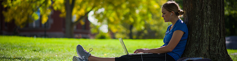 student studying under tree