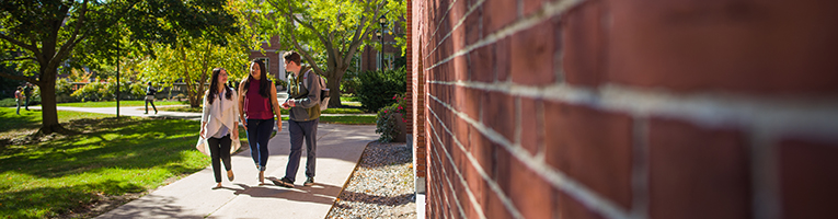 students walk on campus path
