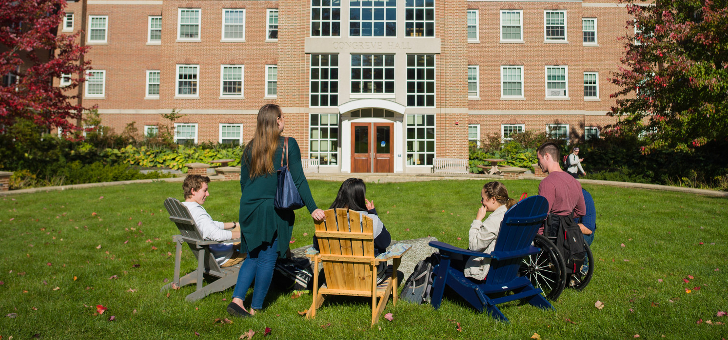 Students sitting outside Congreve Hall