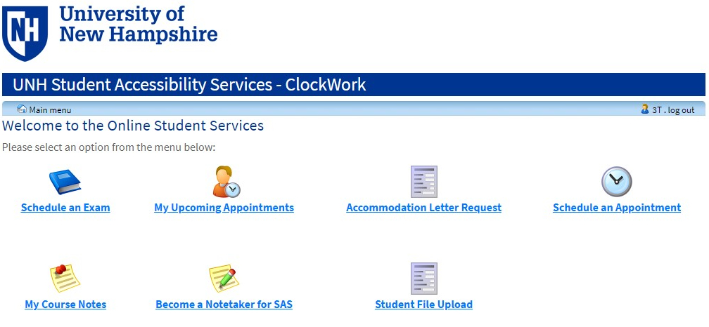 Clockwork Student Portal Main Menu