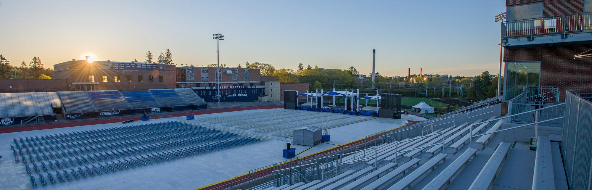 unh wildcat stadium being setup for commencement