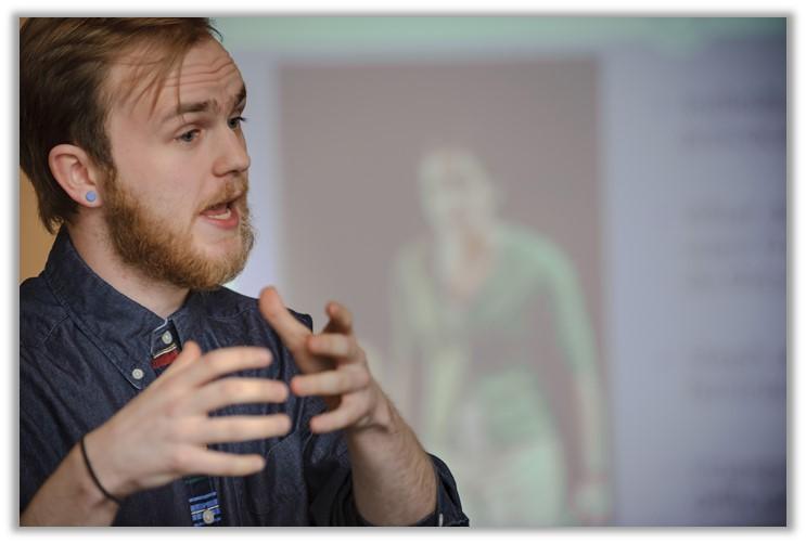 Student giving oral presentation