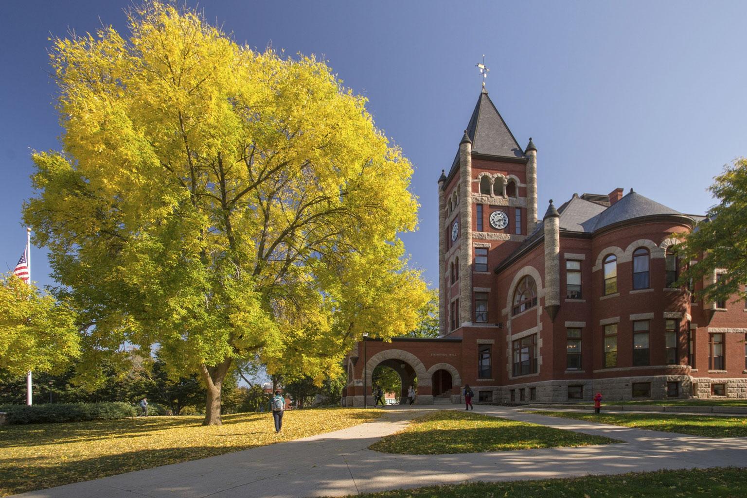 University of New Hampshire Thompson Hall in autumn.