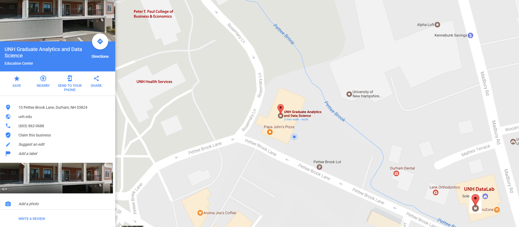 Google Maps image of the loaction of UNH Analytics & Data Science office, classroom, and DataLab