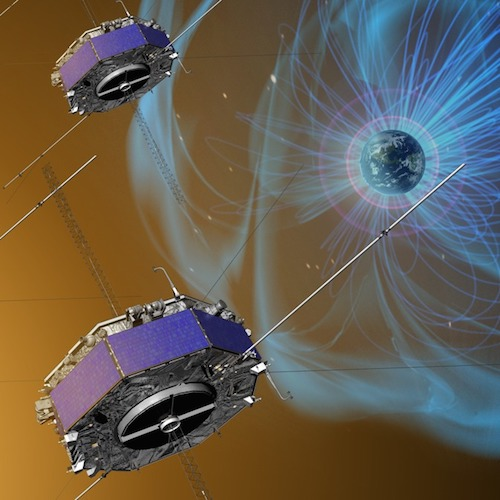 artist depiction of satellites and magnetic fields