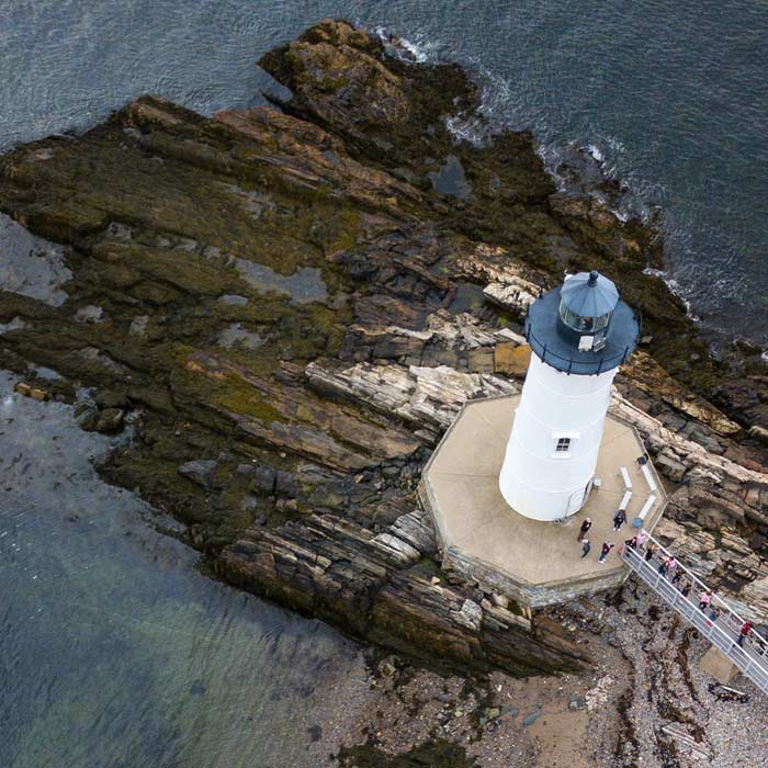 aerial photo of a lighthouse