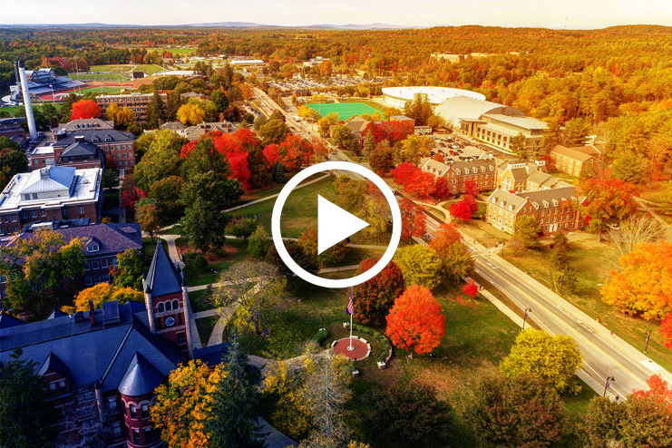 aerial of durham in the fall