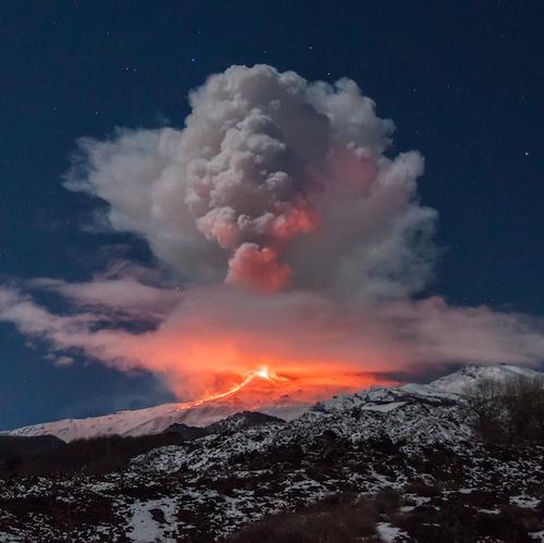 Mt. Etna volcano erupting