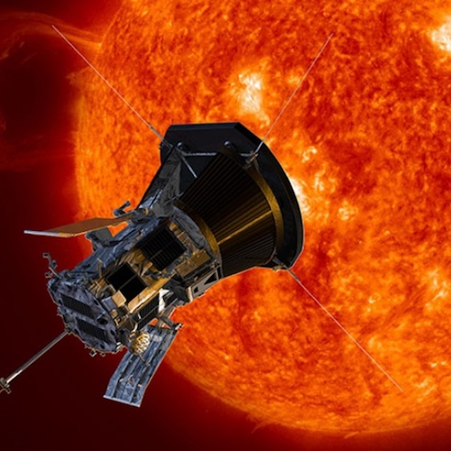 Illustration of NASA's Parker Solar Probe at the sun