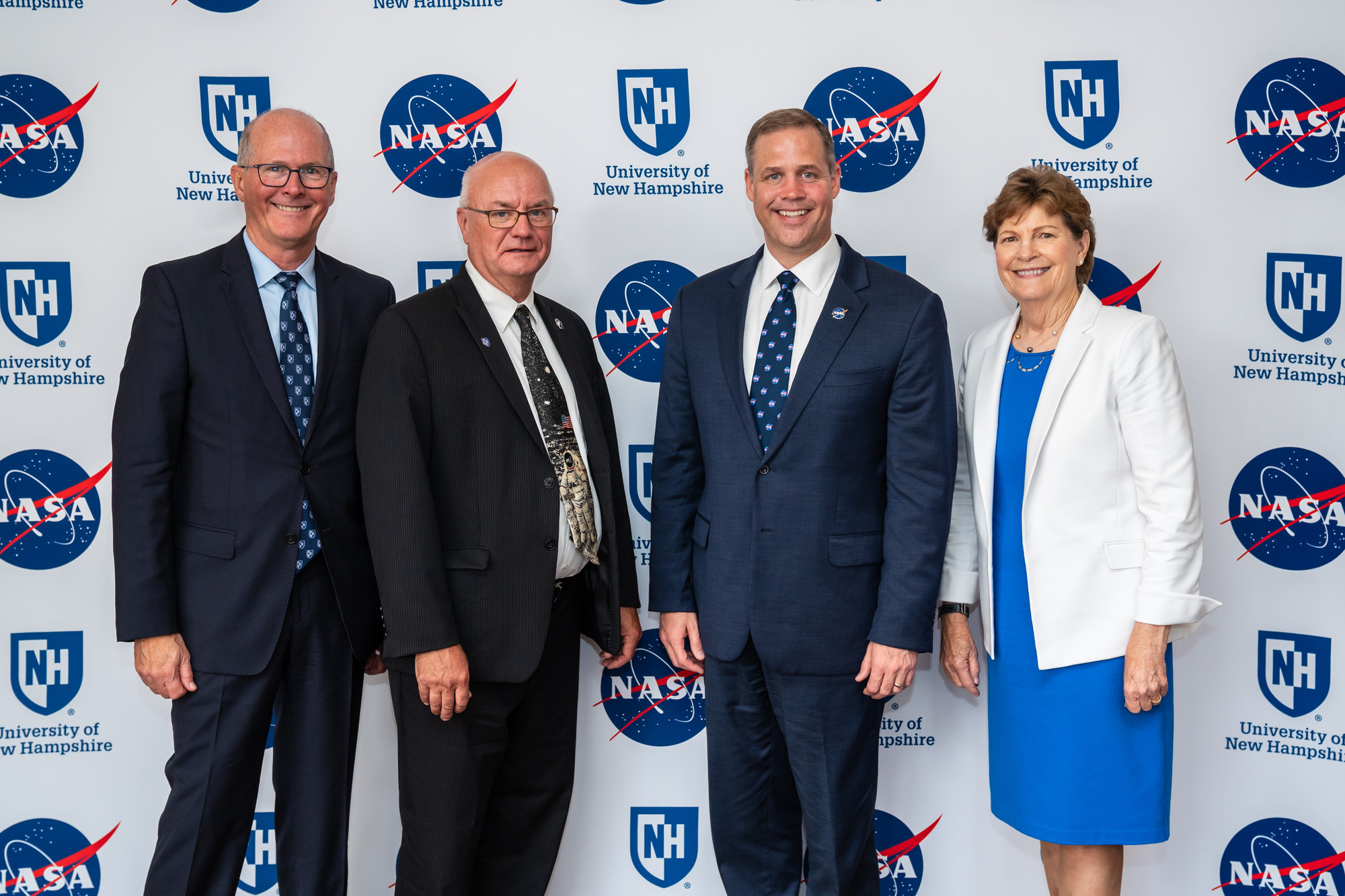 President Jim Dean, EOS administrator Harlan Spence, NASA administrator Jim Bridenstine and NH senator Jeanne Shaheen at UNH