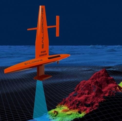 "Red ""saildrone"" autonomous vehicle maps the seafloor"