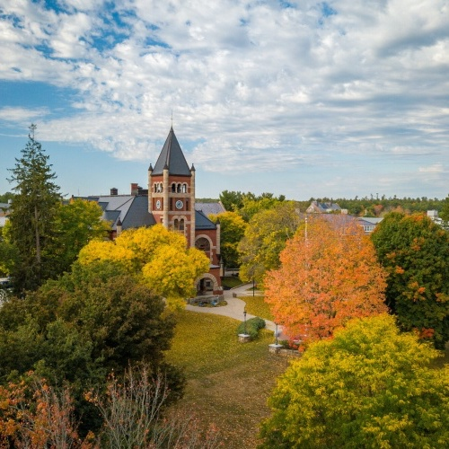 Aerial photo of UNH campus in fall