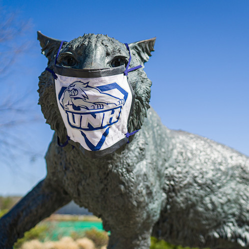 Statue of UNH Wildcat wearing face mask