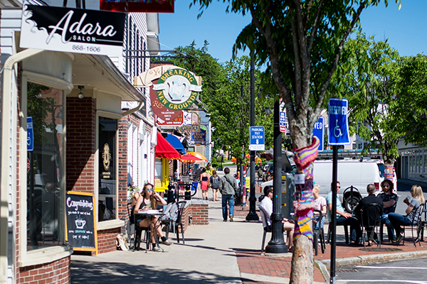 A sidewalk scene in downtown Durham, where Music on Main Street will hold a summer block party.