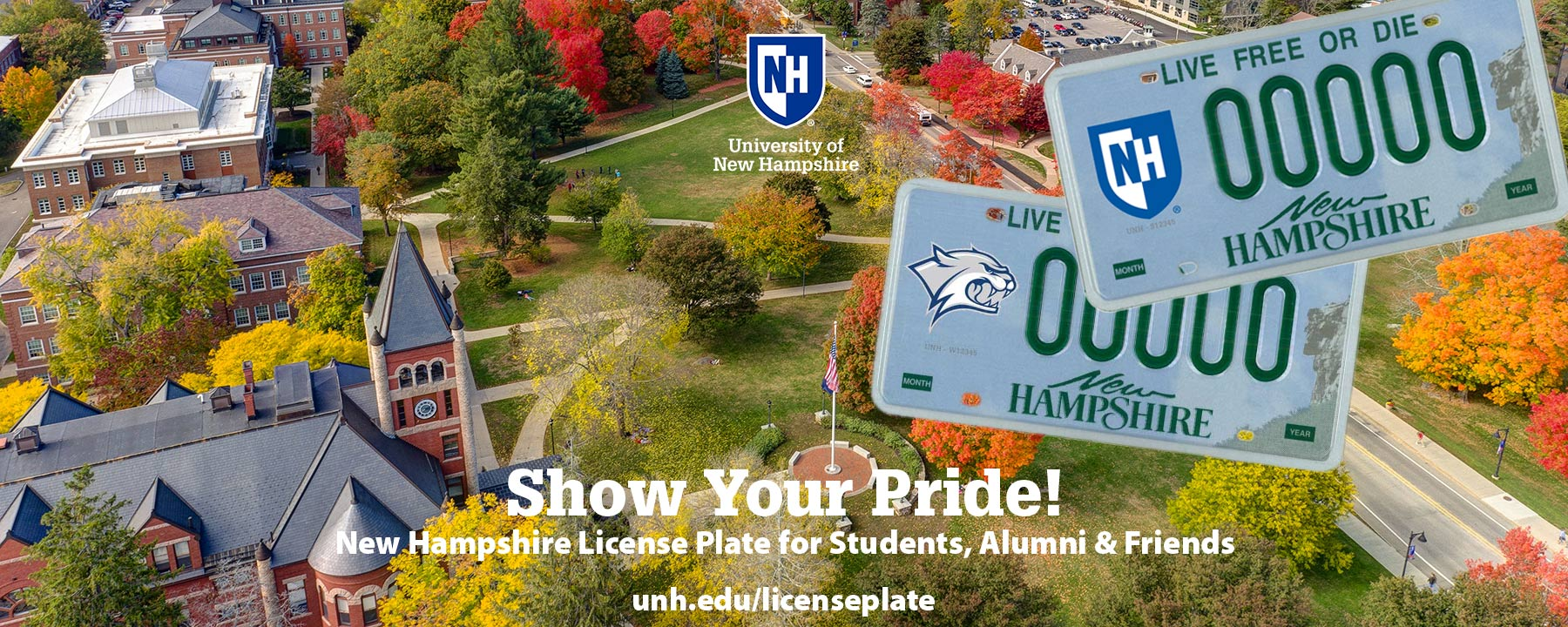 NH state license plate with UNH decal