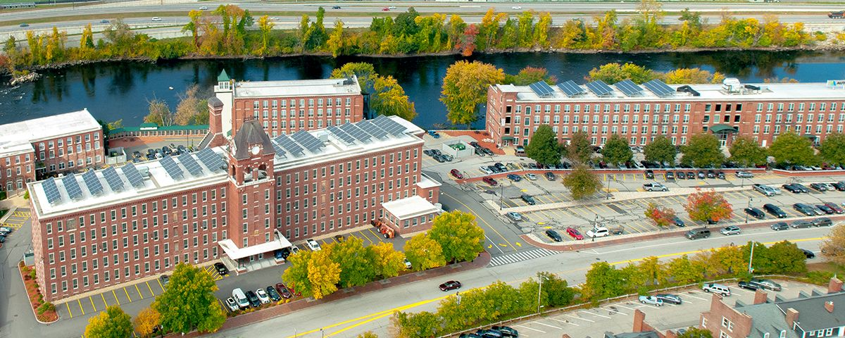 An aerial view of UNH's Manchester campus