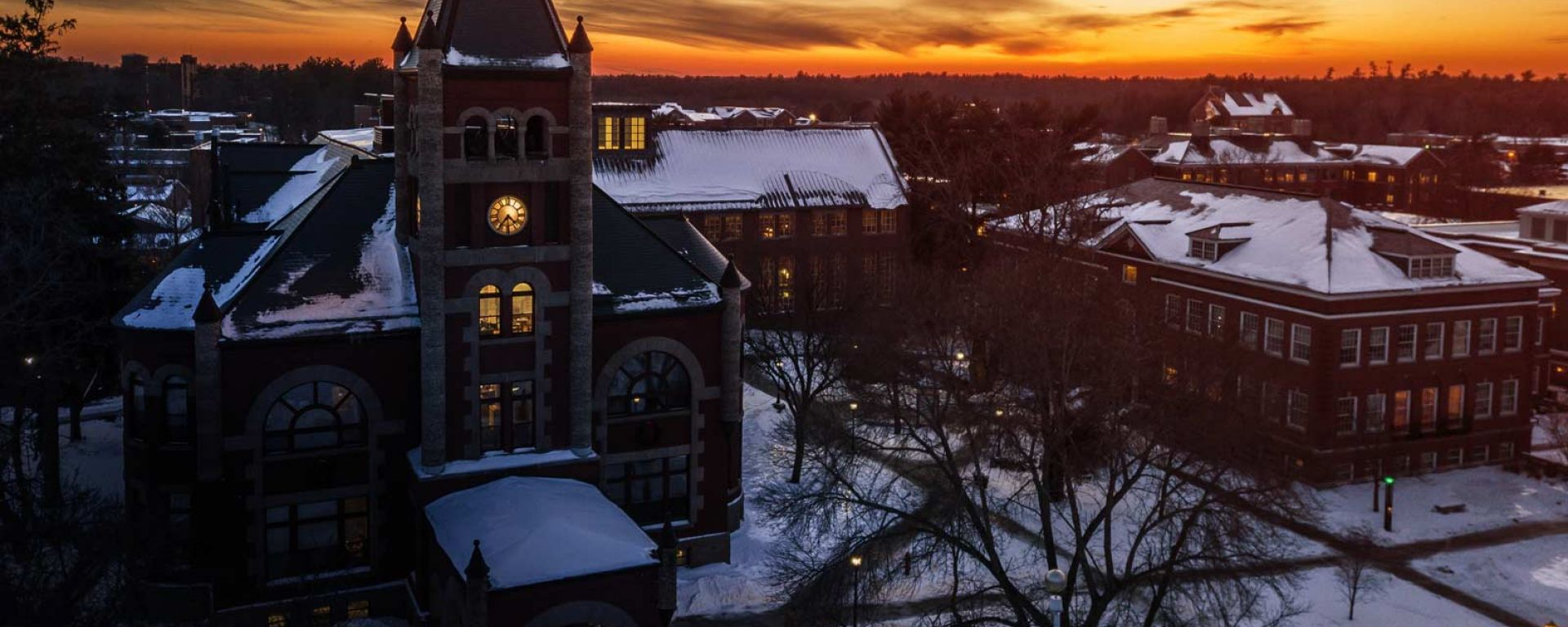 Aerial of Thompson Hall in winter