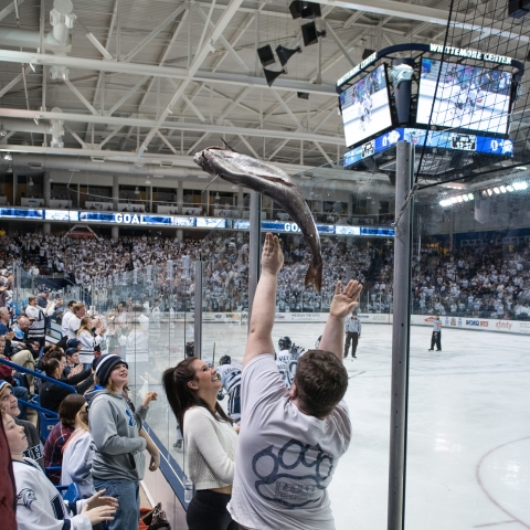 student tossing fish on to the ice at hockey game