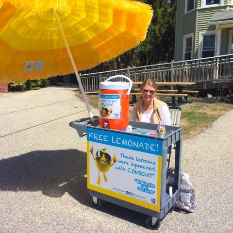 student at lemonade stand