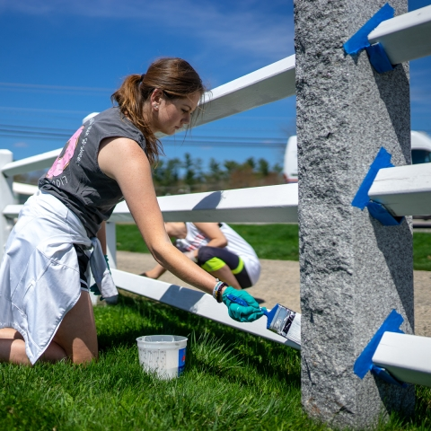 Student painting fence on Unity day