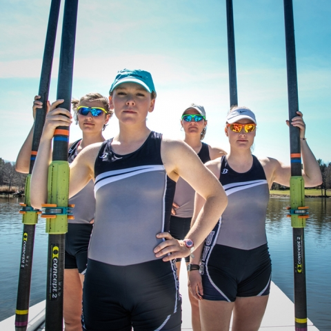 UNH Rowing students