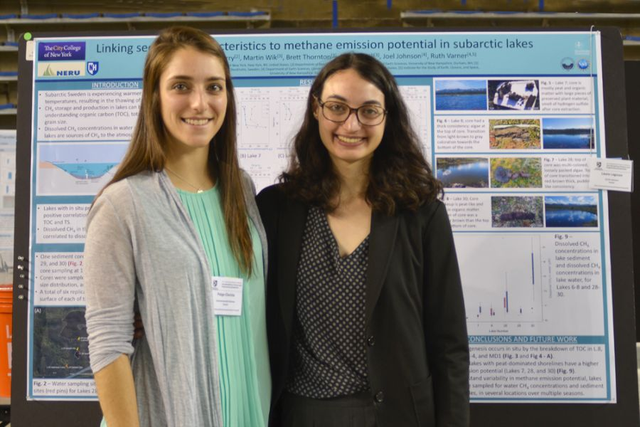 Two women standing in front of a research project board