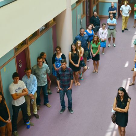 Overhead view of students standing in line