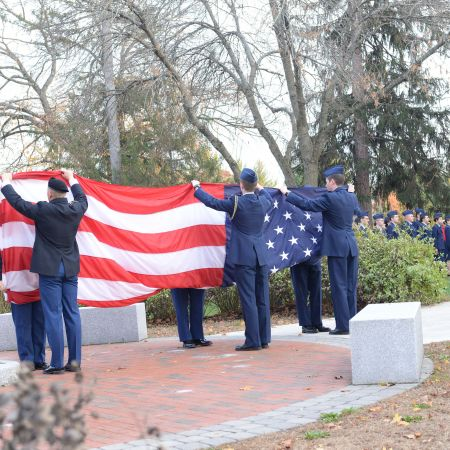 UNH ROTC flag retreat ceremony