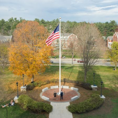 Thompson Hall flagpole at UNH