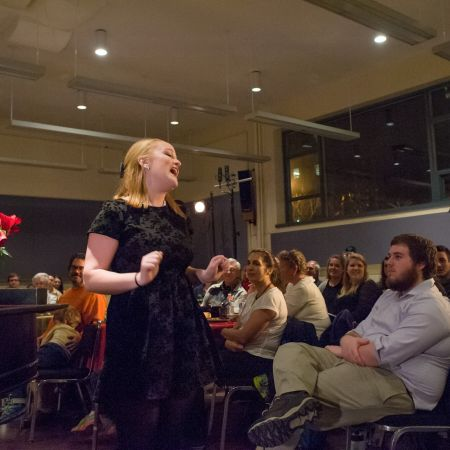 UNH student singing cabaret